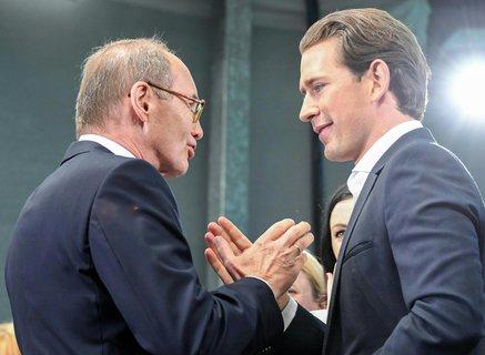 Sebastian Kurz (l.) und ÖVP-Spitzenkandidat Othmar Karas. Foto: Lukas Huter, APA/dpa