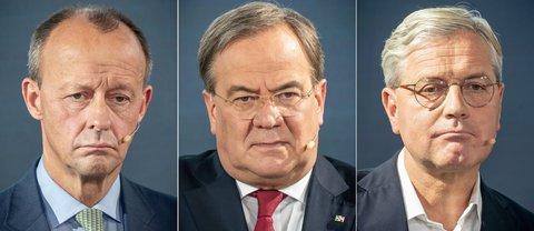 Friedrich Merz, Armin Laschet, Norbert Röttgen (v.l.n.r.). Fotos:Michael Kappeler/dpa