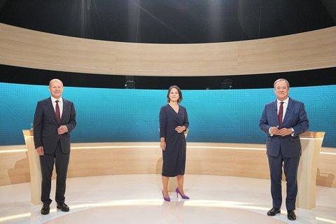 Olaf Scholz, Annalena Baerbock und Armin Laschet. Foto:Michael Kappeler/dpa